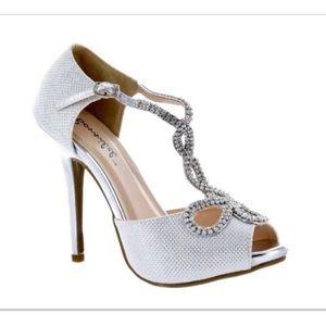 Bonnibel white and silver rhinestone peeptoe heels